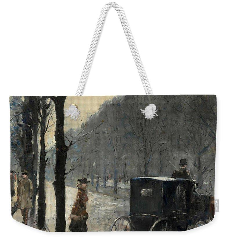 German Art Weekender Tote Bag featuring the painting Am Kurfurstendamm by Lesser Ury