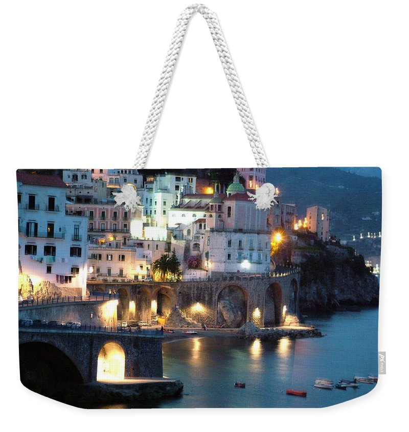 Horizontal Weekender Tote Bag featuring the photograph Amalfi Coast At Night by Donna Corless
