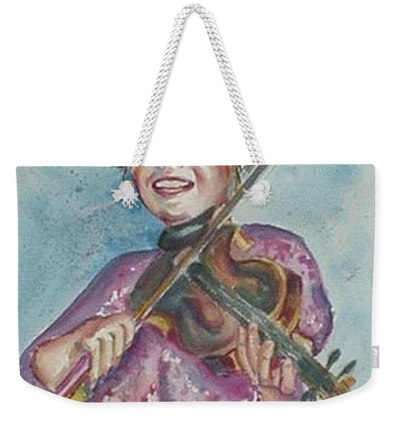 Watercolor Weekender Tote Bag featuring the painting Amanda by Beverly Boulet