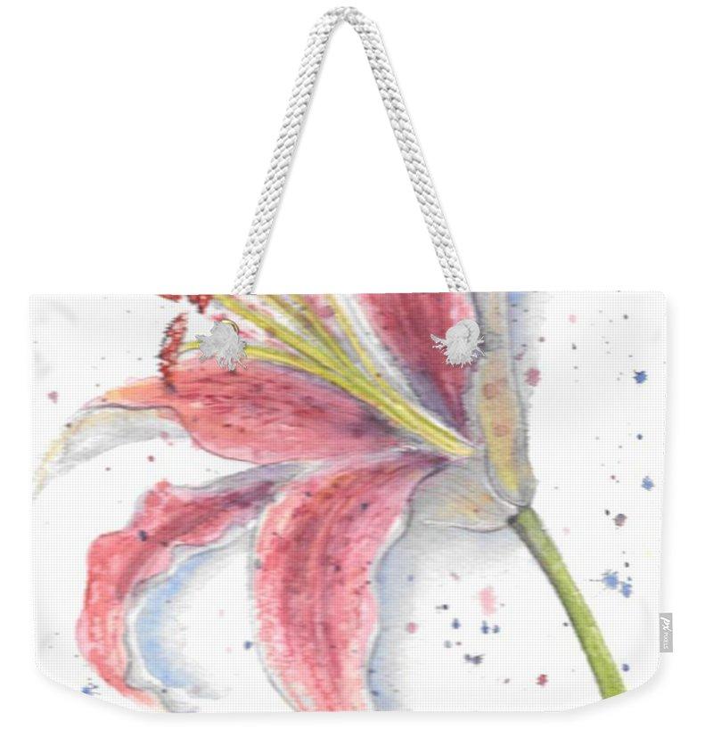 Watercolor Flower Weekender Tote Bag featuring the painting Amaryllis by Debbie Lewis
