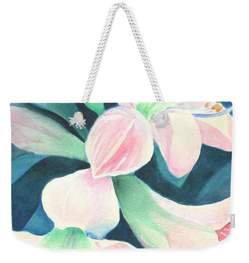 Flower Weekender Tote Bag featuring the painting Amaryllis by Helena Tiainen