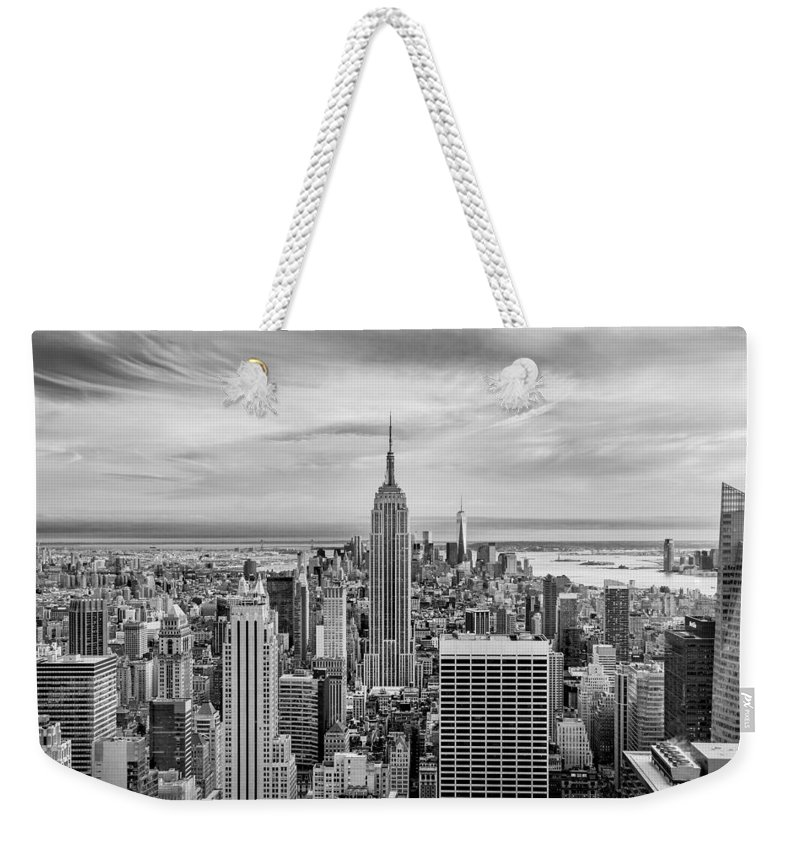 Empire State Building Weekender Tote Bag featuring the photograph Amazing Manhattan Bw by Az Jackson