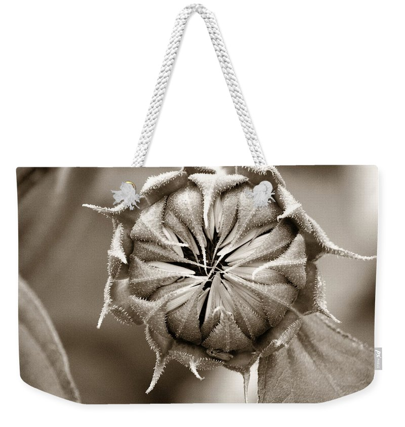 Sunflower Weekender Tote Bag featuring the photograph Amazing Sunflower Bud by Marilyn Hunt