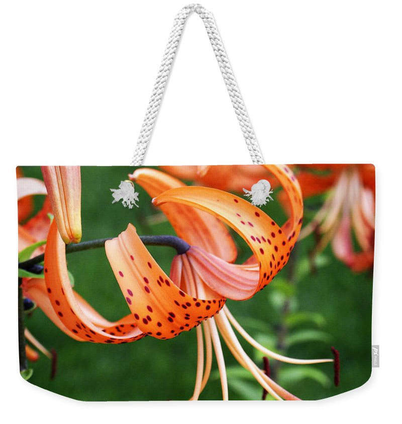Orange Weekender Tote Bag featuring the photograph Amazing Tiger Lily by Marilyn Hunt
