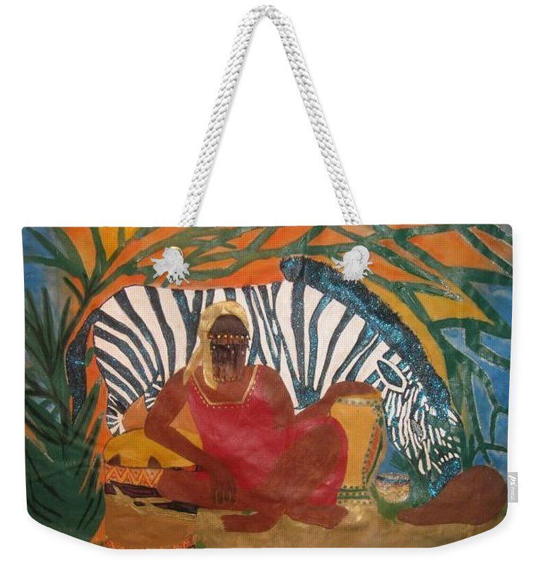 Weekender Tote Bag featuring the painting Amazon Woman by Yolanda Banks Femininity Wear Productions