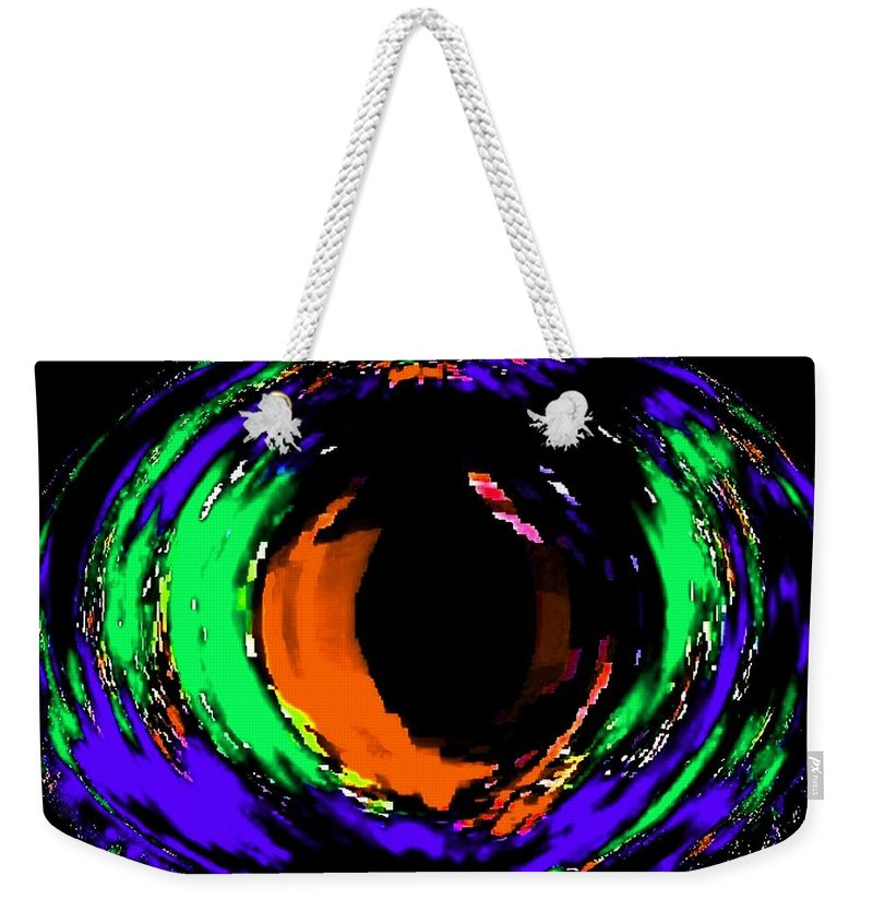 Abstract Weekender Tote Bag featuring the digital art Amber Eye by Will Borden