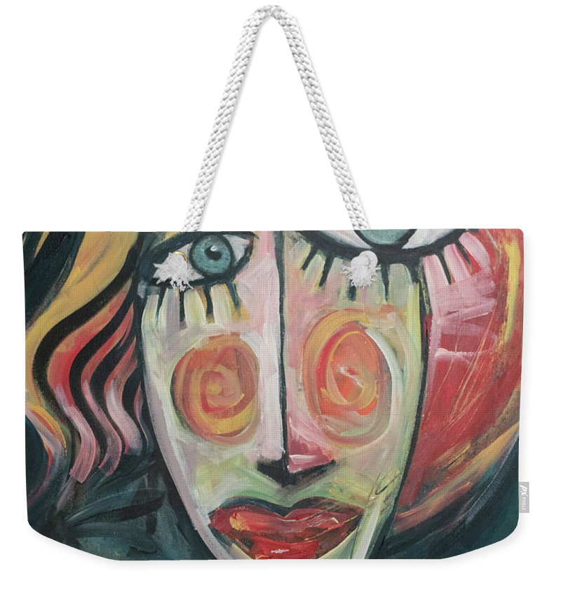 Woman Weekender Tote Bag featuring the painting Amber by Tim Nyberg