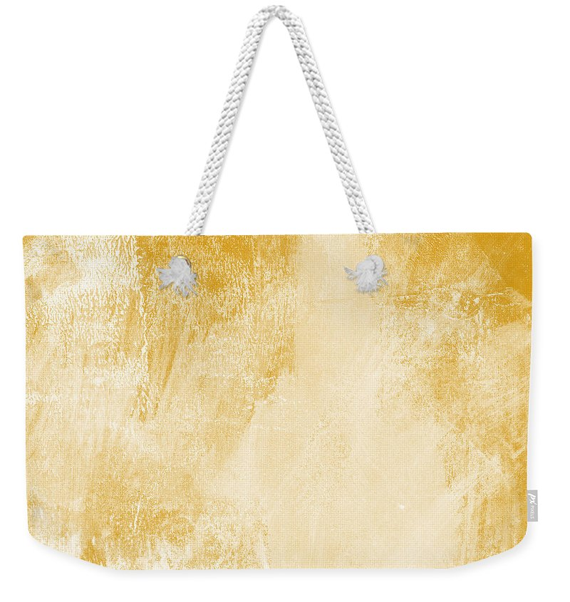 Abstract Weekender Tote Bag featuring the painting Amber Waves by Linda Woods