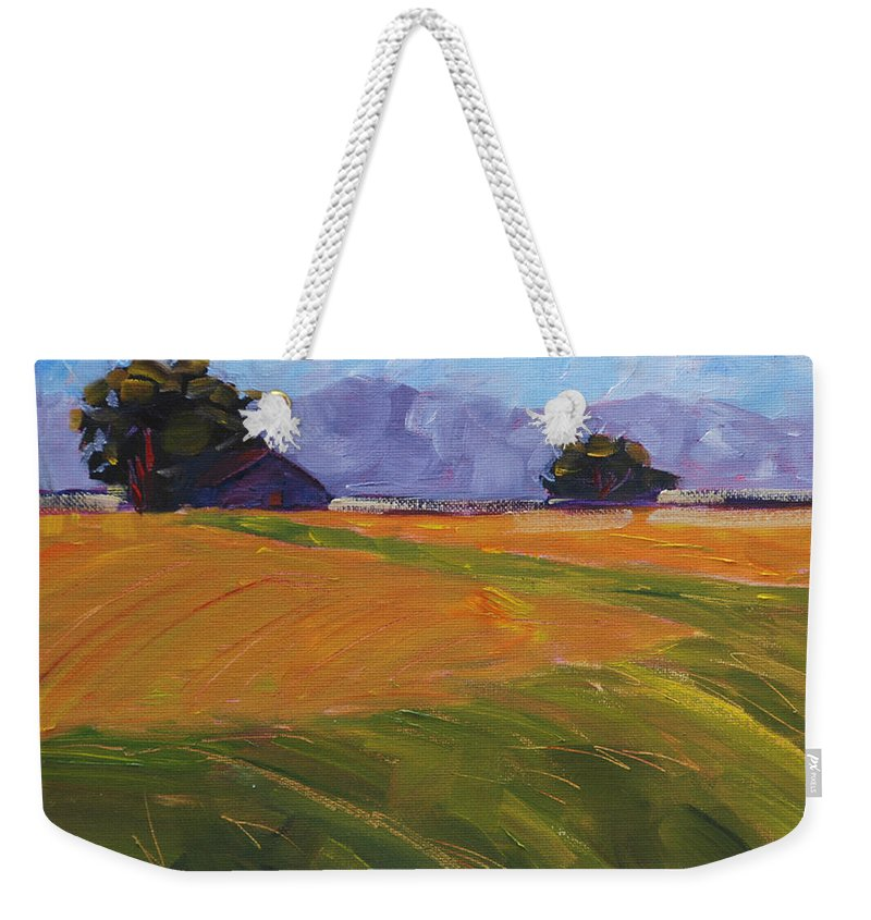 Agriculture Weekender Tote Bag featuring the painting Amber Waves by Mary Benke