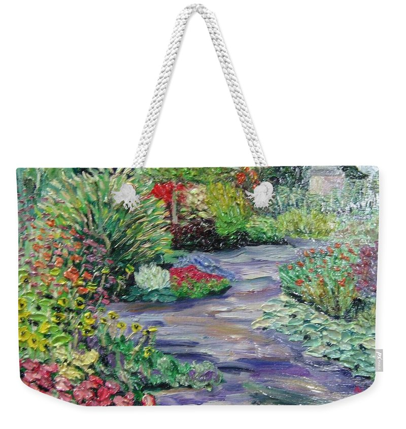 Park Weekender Tote Bag featuring the painting Amelia Park Blossoms by Richard Nowak