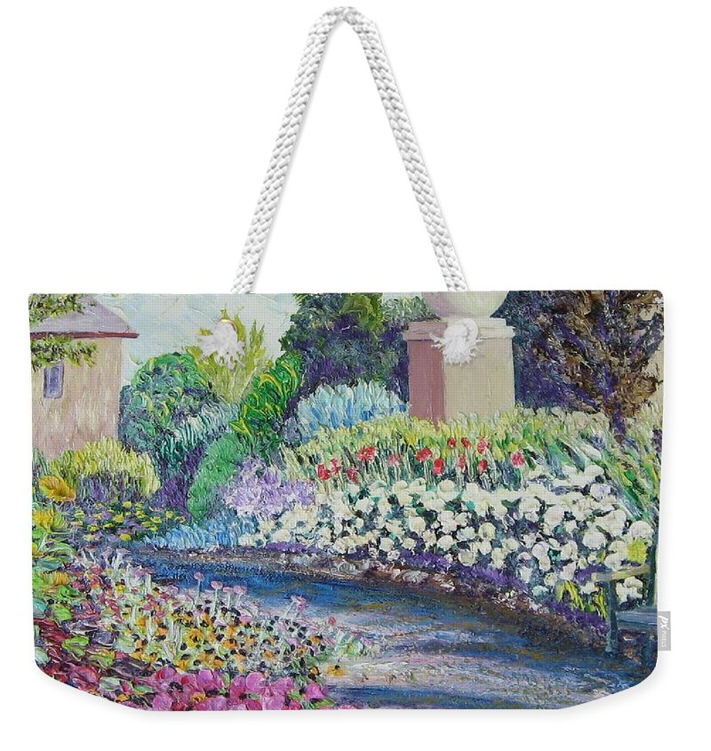 Flowers Weekender Tote Bag featuring the painting Amelia Park Pathway by Richard Nowak