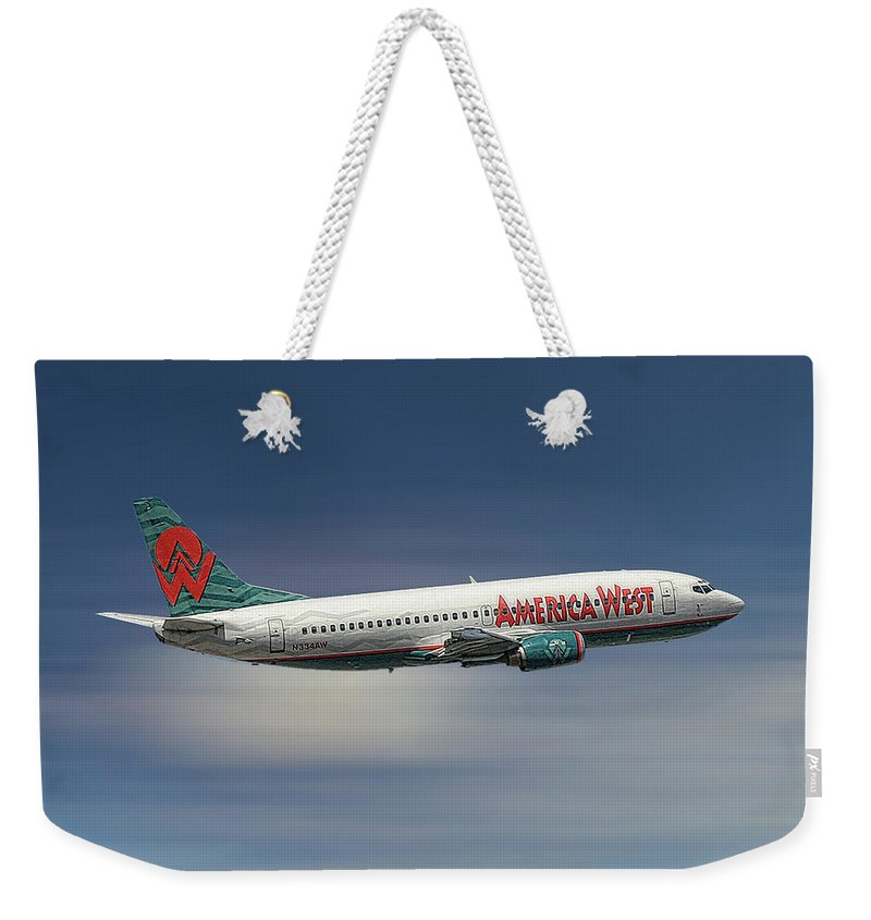America West Weekender Tote Bag featuring the mixed media America West Boeing 737-300 by Smart Aviation