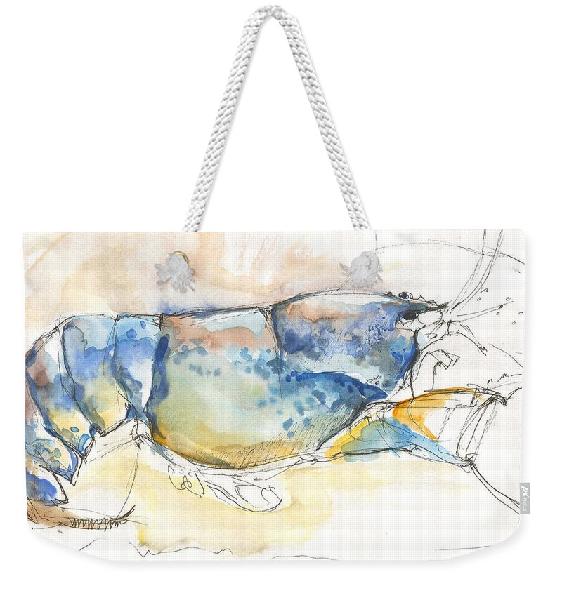 Lobster Weekender Tote Bag featuring the painting American Blue Lobster by Sarah Madsen
