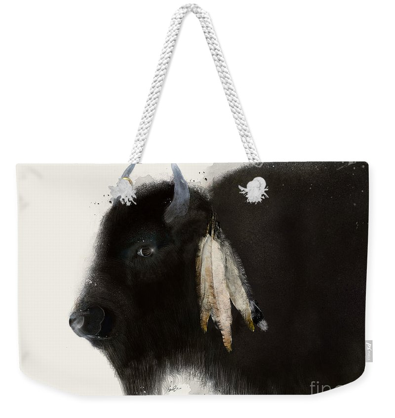 Buffalo Weekender Tote Bag featuring the painting American Buffalo by Bri Buckley