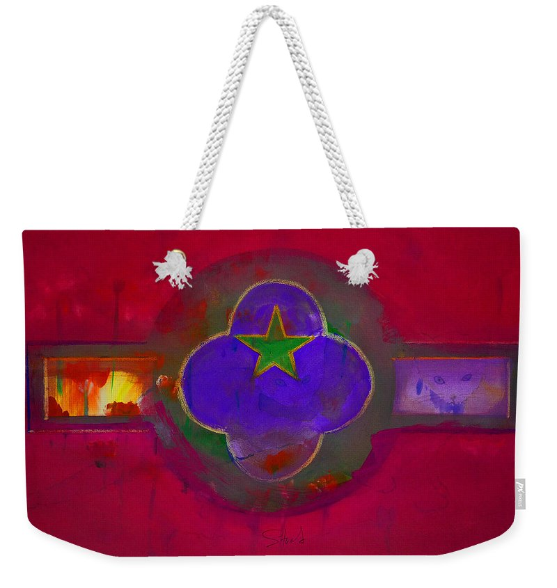 Star Weekender Tote Bag featuring the painting American Cats And Flowers by Charles Stuart