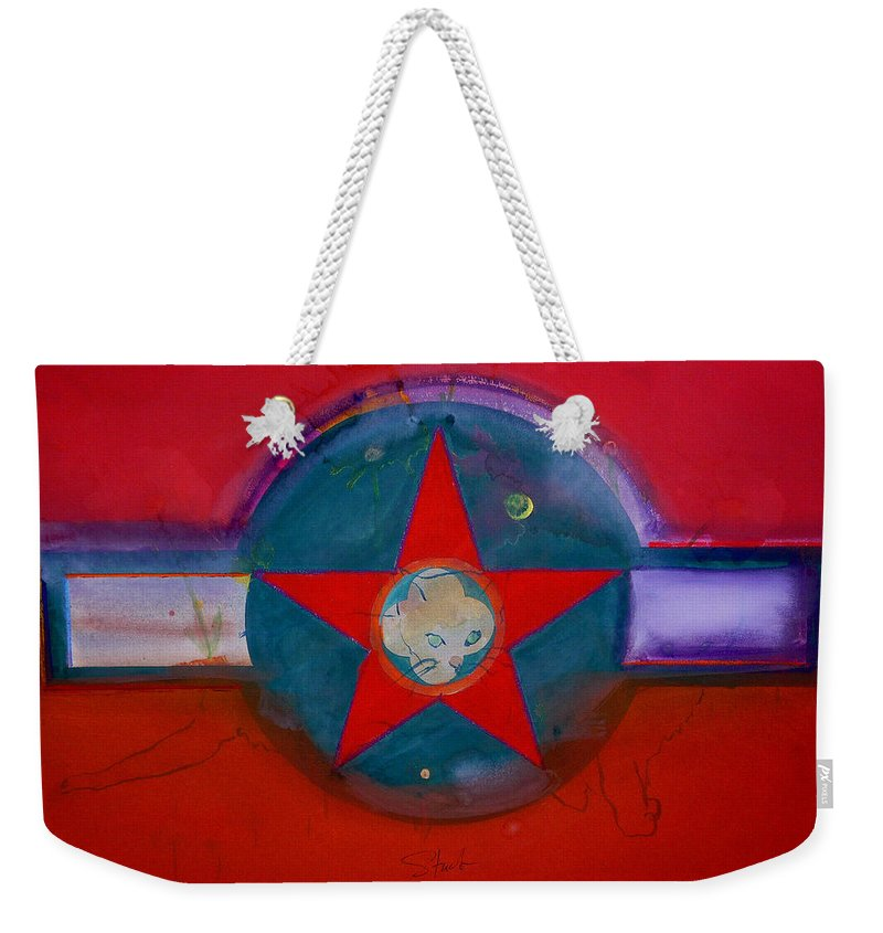 Star Weekender Tote Bag featuring the painting American Chinoiserie Cat by Charles Stuart