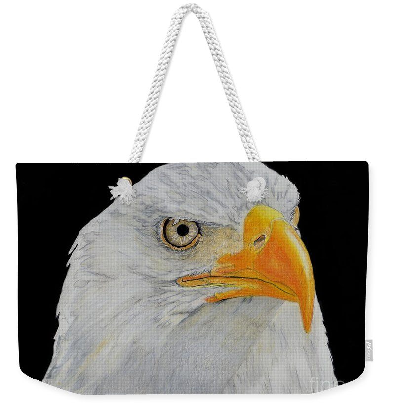 Eagle Weekender Tote Bag featuring the drawing American Eagle by Bill Richards