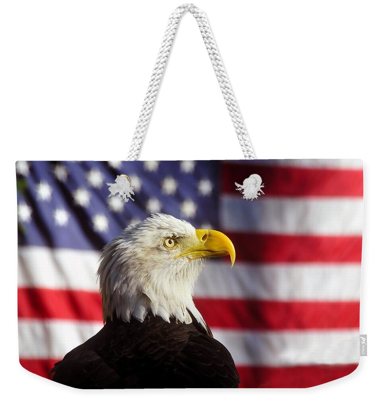 Bald Eagle Weekender Tote Bag featuring the photograph American Eagle by David Lee Thompson