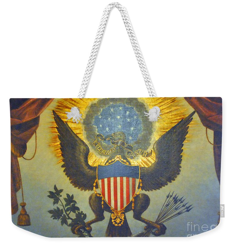 United Weekender Tote Bag featuring the photograph American Eagle by Jost Houk