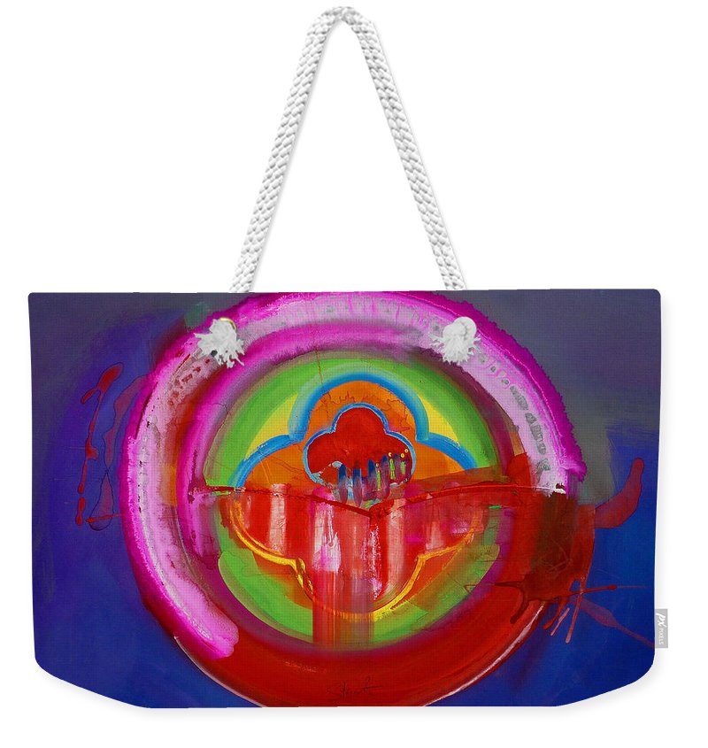 Button Weekender Tote Bag featuring the painting American Evangelical by Charles Stuart