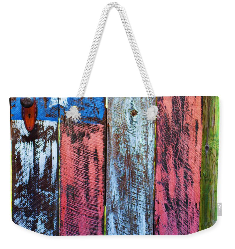 American Flag Gate Weekender Tote Bag featuring the photograph American Flag Gate by Garry Gay