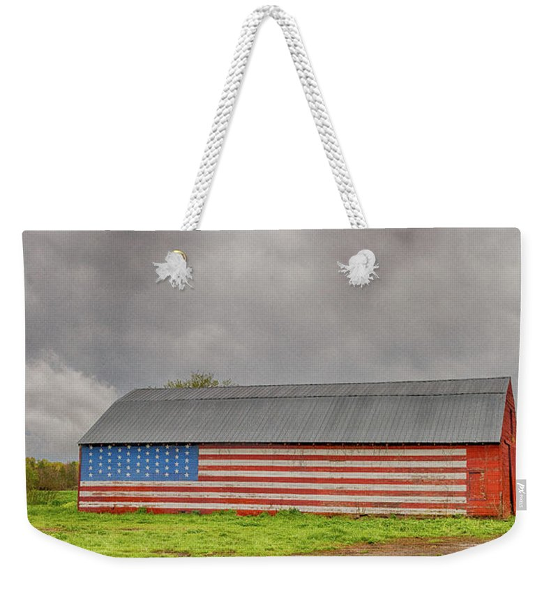 Barn Weekender Tote Bag featuring the photograph American Flag Proudly Displayed by Terri Morris
