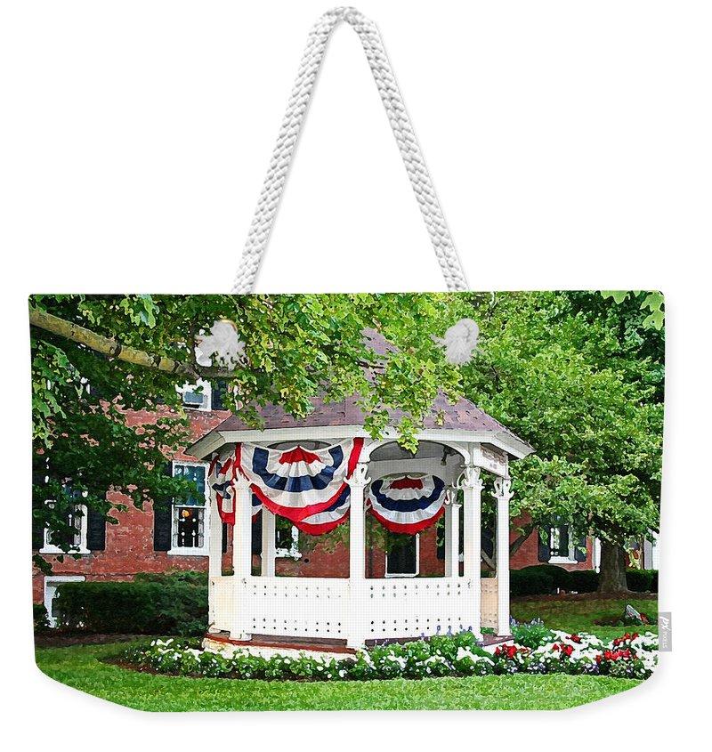 Gazebo Weekender Tote Bag featuring the photograph American Gazebo by Margie Wildblood