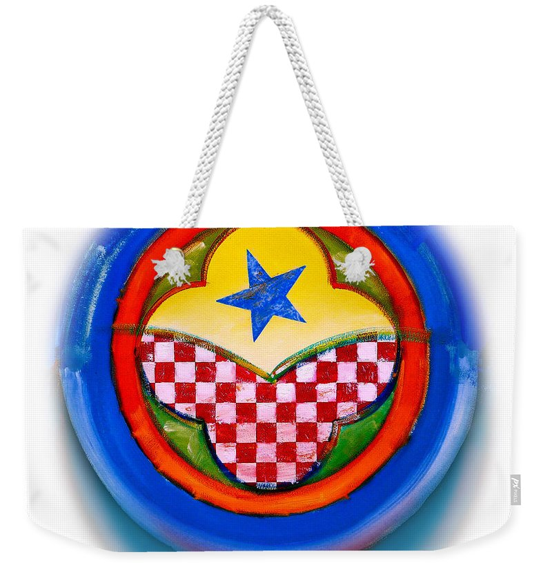 Pinball Weekender Tote Bag featuring the painting American Happiness Button by Charles Stuart