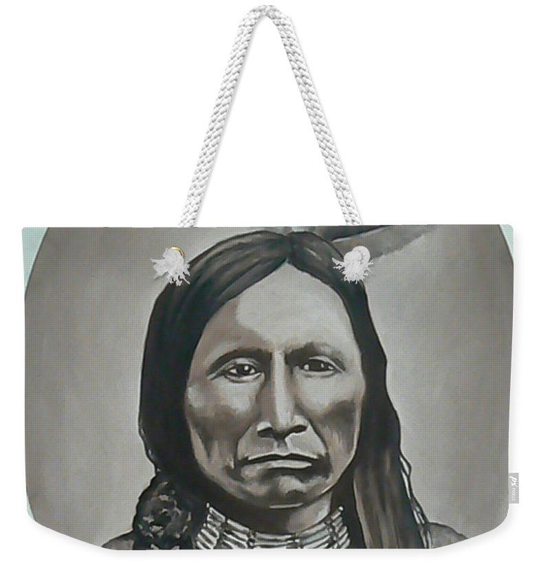 Michael Weekender Tote Bag featuring the painting American Horse by Michael TMAD Finney