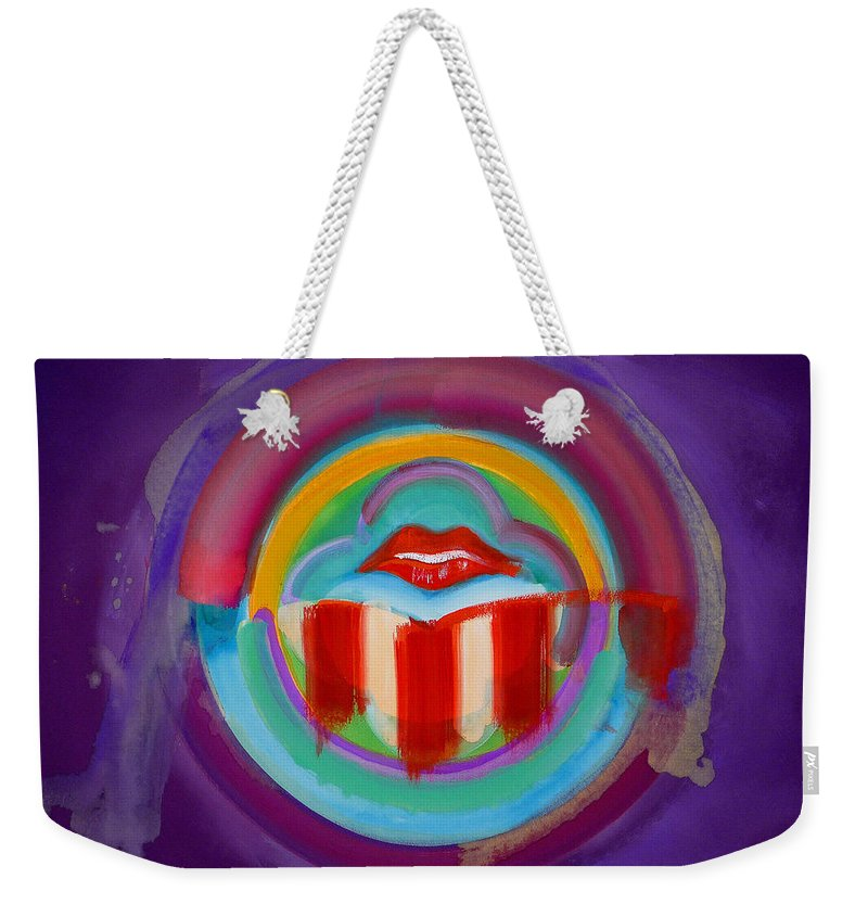 Button Weekender Tote Bag featuring the painting American Kiss by Charles Stuart