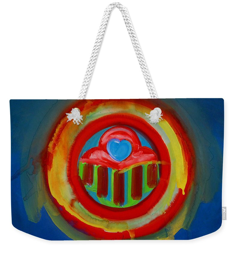Button Weekender Tote Bag featuring the painting American Love Button by Charles Stuart