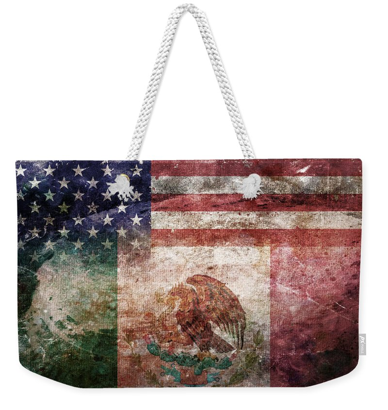 Composite Weekender Tote Bag featuring the digital art American Mexican Tattered Flag by Az Jackson