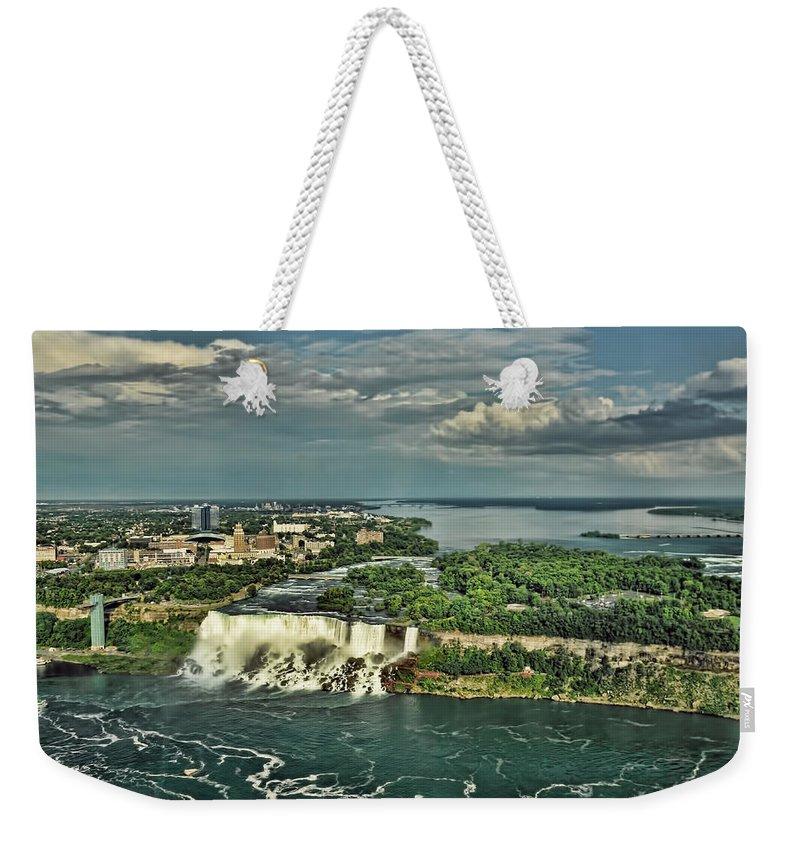 American Niagara Falls Weekender Tote Bag featuring the photograph American Niagara Falls by Ginger Wakem