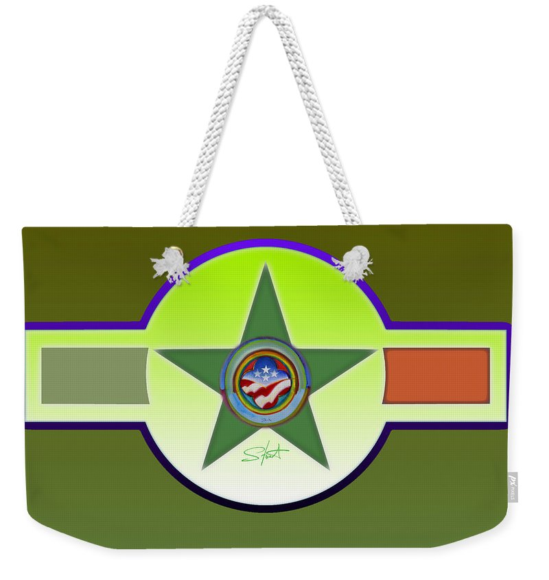 Insignia Weekender Tote Bag featuring the painting American Olive by Charles Stuart