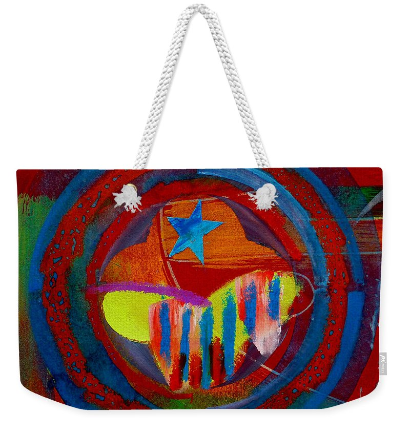 Button Weekender Tote Bag featuring the painting American Pastoral by Charles Stuart