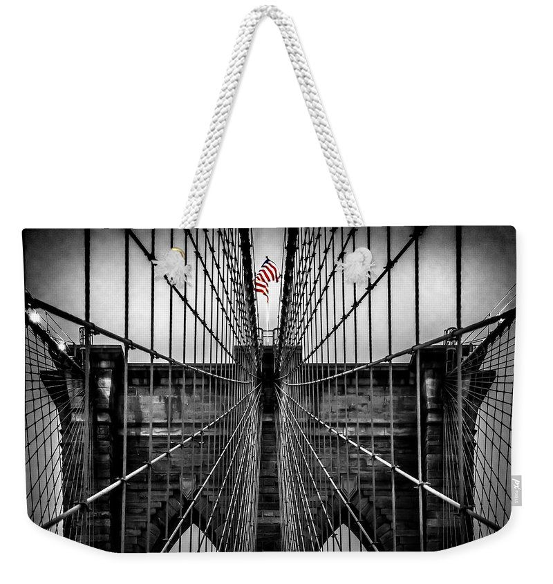 Brooklyn Bridge Weekender Tote Bag featuring the photograph American Patriot by Az Jackson