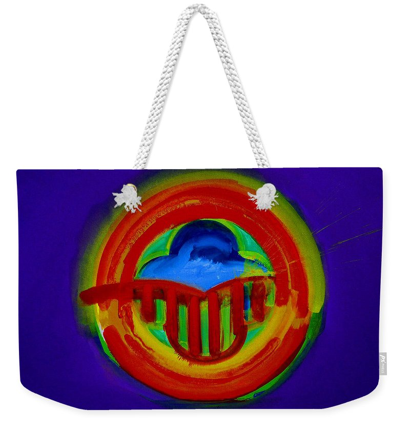 Button Weekender Tote Bag featuring the painting American Power Button by Charles Stuart