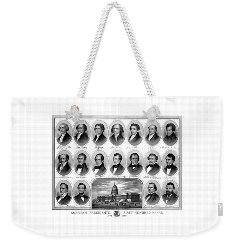 Us Presidents Weekender Tote Bag featuring the mixed media American Presidents First Hundred Years by War Is Hell Store