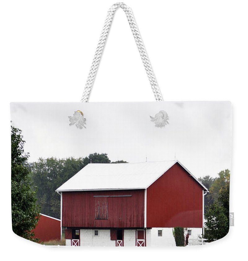 Vertical Weekender Tote Bag featuring the photograph American Red Barn II Indiana by Sally Rockefeller