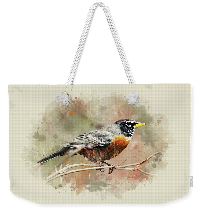 American Robin Weekender Tote Bag featuring the mixed media American Robin - Watercolor Art by Christina Rollo