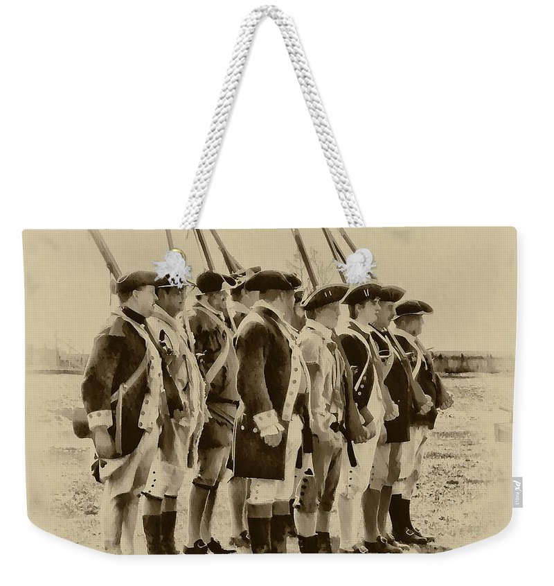 Fort Weekender Tote Bag featuring the photograph American Soldiers At Fort Mifflin by Bill Cannon