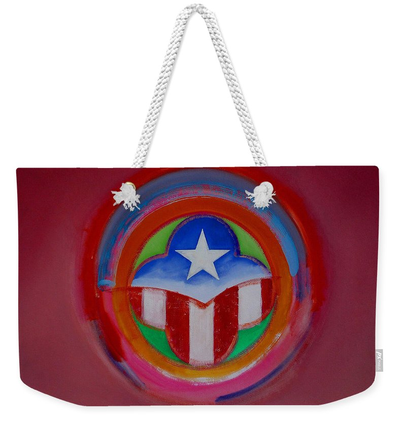 Button Weekender Tote Bag featuring the painting American Star Button by Charles Stuart