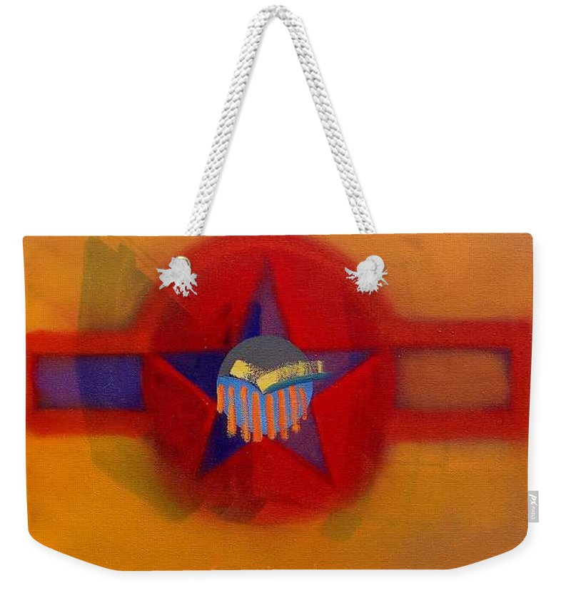 Usaaf Insignia And Idealised Landscape In Union Weekender Tote Bag featuring the painting American Sub Decal by Charles Stuart