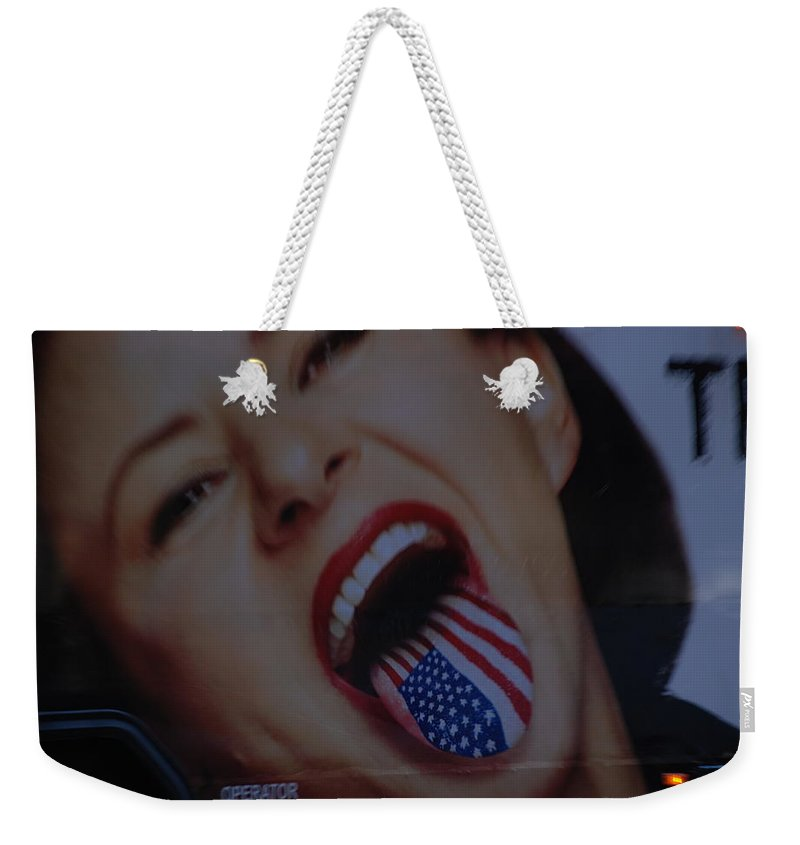 American Flag Weekender Tote Bag featuring the photograph American Tounge by Rob Hans