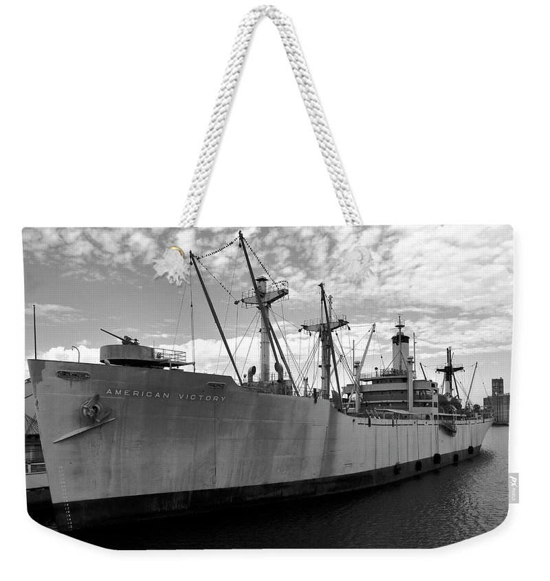 Fine Art Photography Weekender Tote Bag featuring the photograph American Victory Ship Tampa Bay by David Lee Thompson