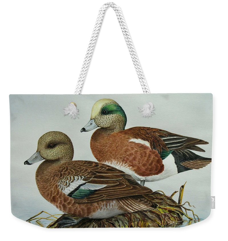 Ducks Weekender Tote Bag featuring the painting American Widgeons by Elaine Booth-Kallweit