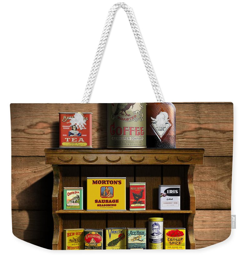 Americana Kitchen Art Decor - Vintage Spice Cans Tins 2 - Nostalgic Spice  Rack - Square Format Weekender Tote Bag
