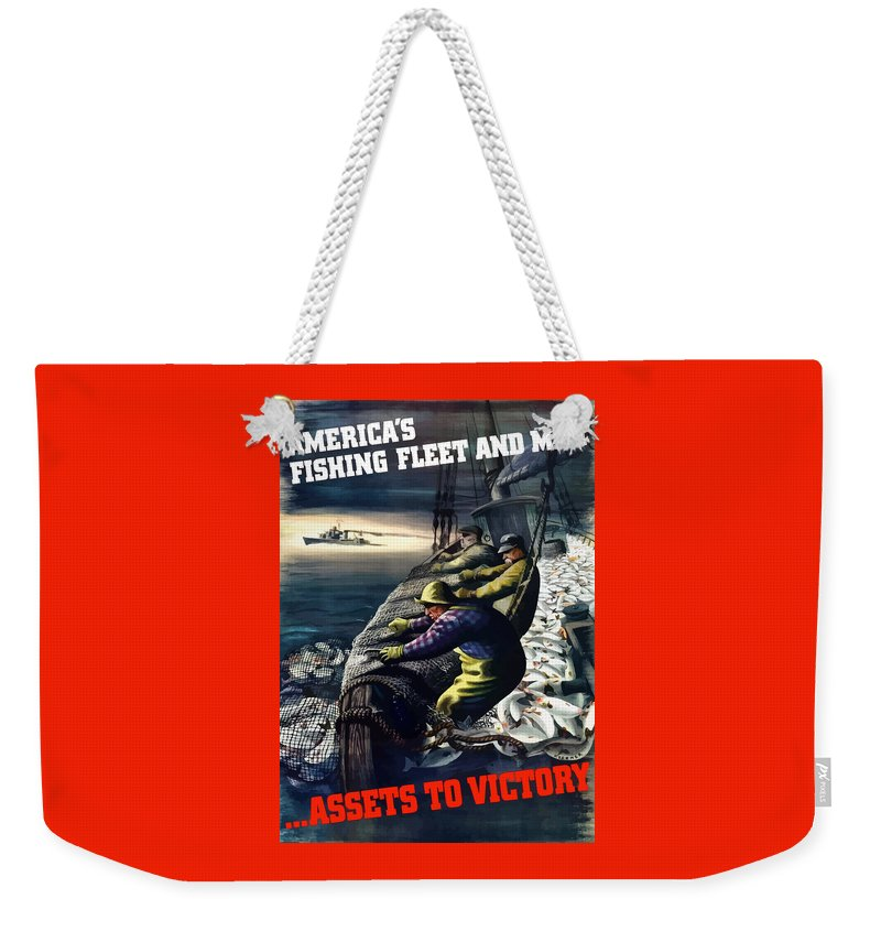 Fishing Weekender Tote Bag featuring the painting America's Fishing Fleet And Men by War Is Hell Store
