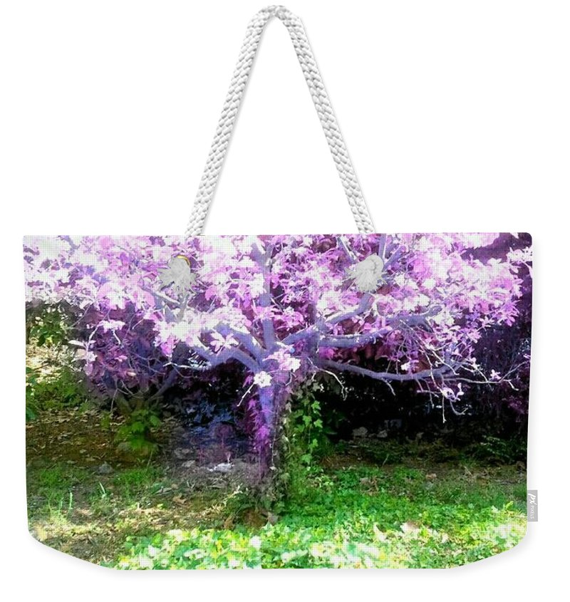 Abstract Purple Tree Weekender Tote Bag featuring the digital art Amethyst Tree by Cristina Izzi