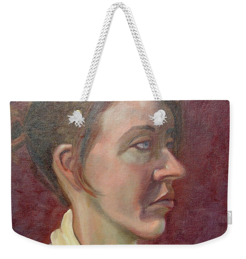 Girl Weekender Tote Bag featuring the painting Ami Portrait by Lilibeth Andre
